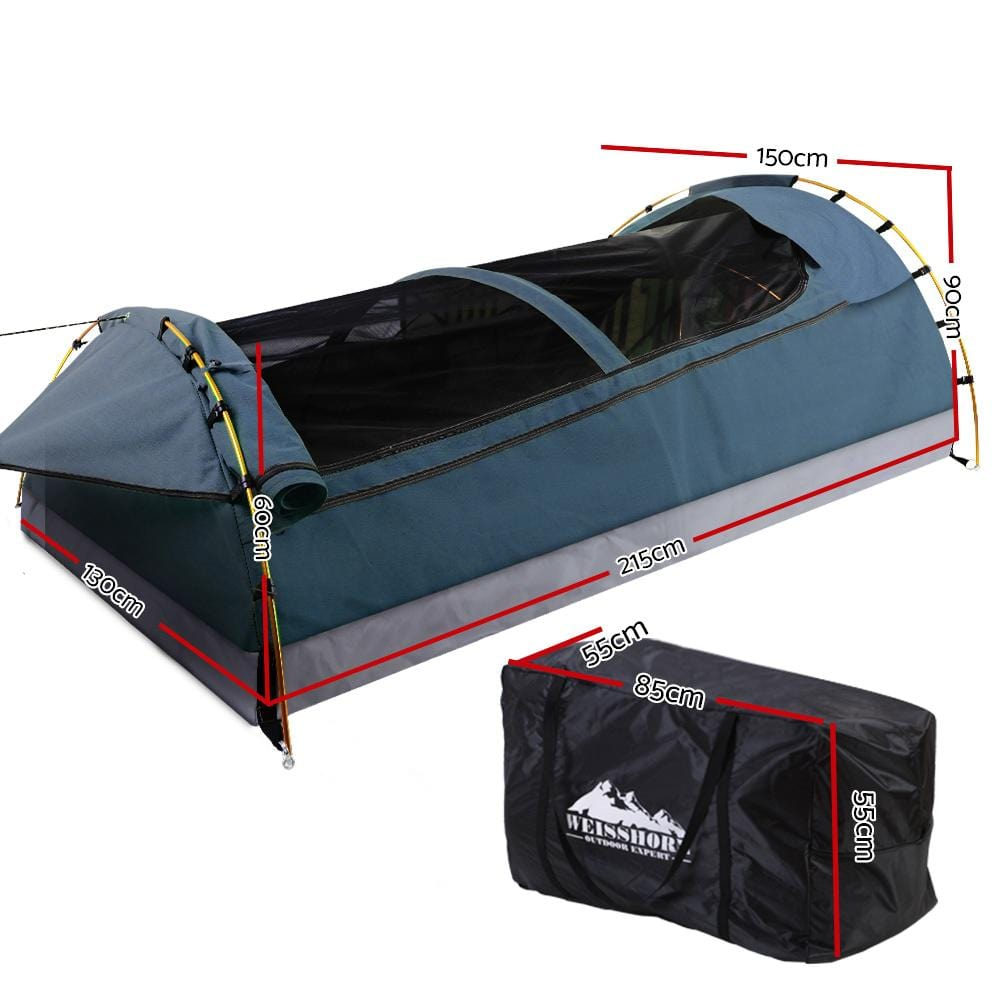 Weisshorn Swags Double Camping Swag Water Reistant Ripstop Canvas 2 Person.
