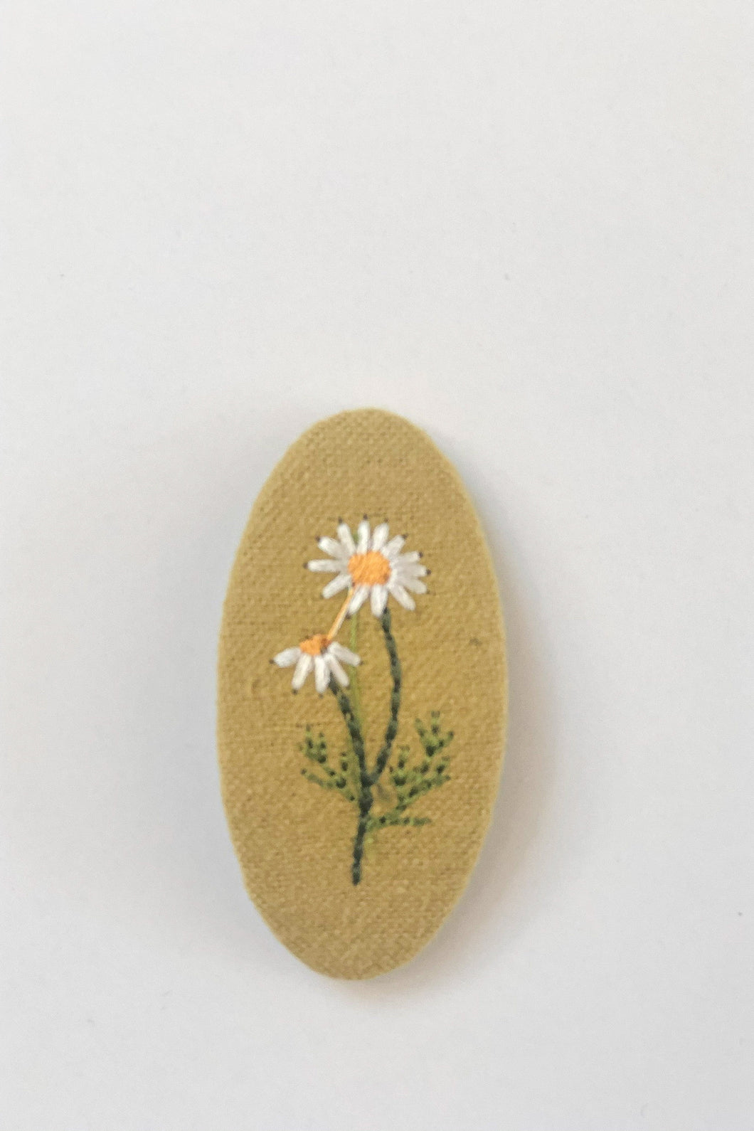Ada Daisy Embroidered Hair Clip, Mustard