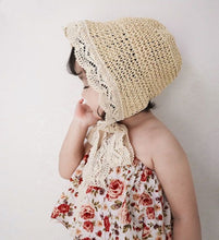 Load image into Gallery viewer, Peyton Lace Trim Bonnet Hat, Oatmeal