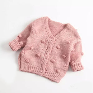 Zoe Pom Pom Knit Cardigan, Rose