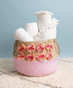 Paint Dipped Seagrass Hand-Woven Storage Basket with Pompom Detail - Pink