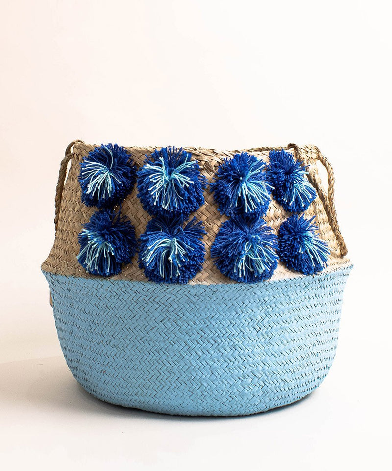 Paint Dipped Seagrass Hand-Woven Storage Basket with Pompom Detail - Blue