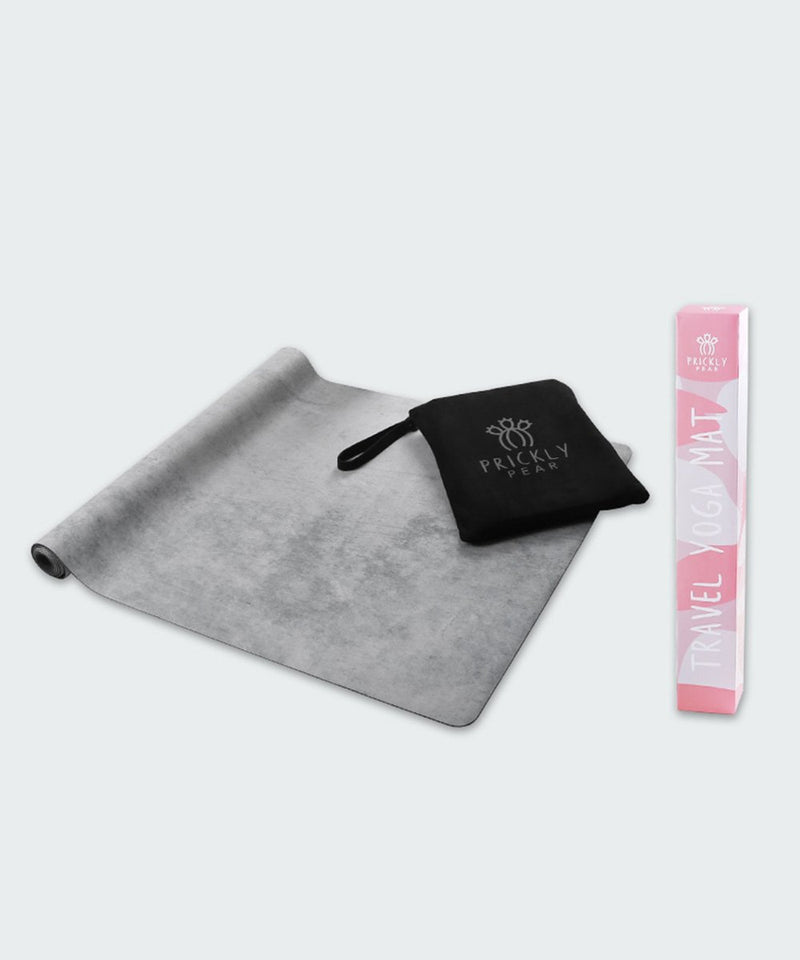 "Prickly Pear ""Power"" Grey Concrete Travel Yoga Mat"