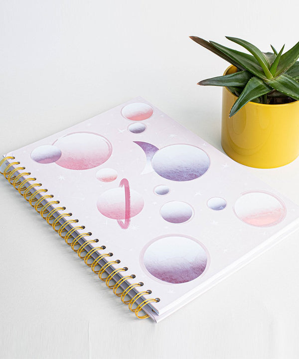 Prickly Pear Spiral Bound Galaxy A4 Hardback Notebook Pink