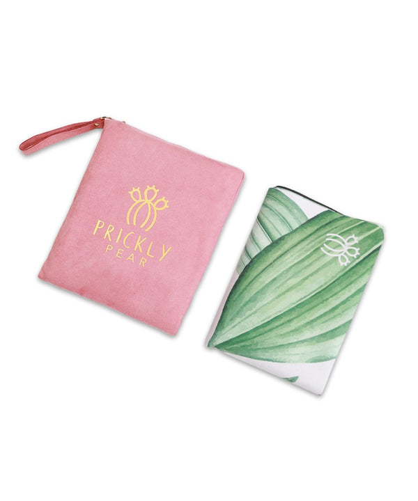 "Prickly Pear ""Ambition"" Green Leaf Print Travel Yoga Mat"