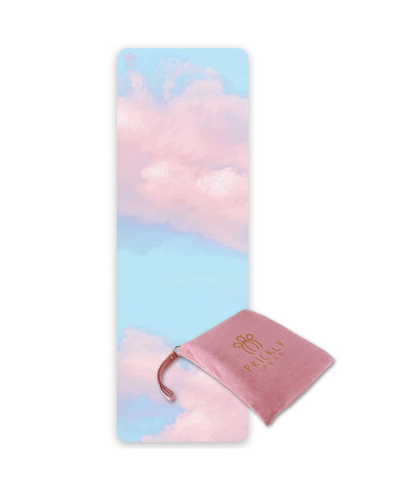 "Prickly Pear ""Dream"" Cloud Print Blue Travel Yoga Mat"