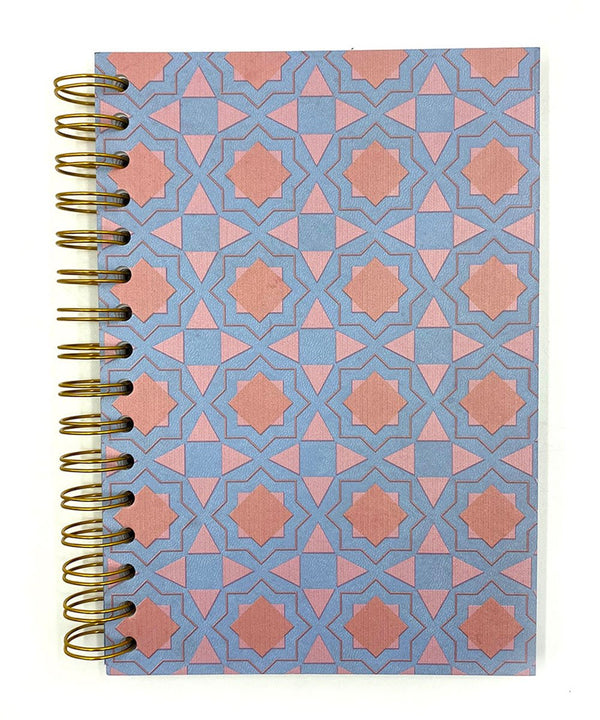 Prickly Pear Spiral Bound Moroccan Mosaic A5 PU Notebook Blue