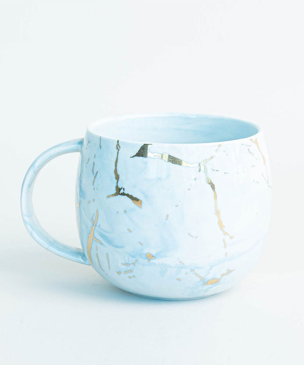 Prickly Pear Gold Fleck 350ml Ceramic Marble Mug - Blue and gold