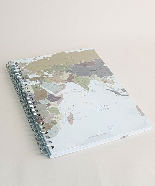 Prickly Pear Spiral Bound Map A4 Harback Notebook Blue