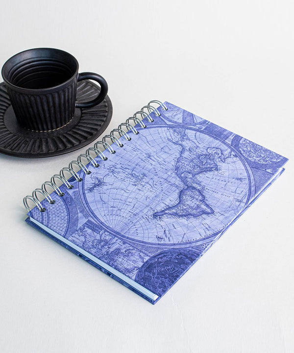 Prickly Pear Spiral Bound Blueprint Map A5 Harback Notebook Blue