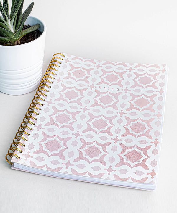 Prickly Pear Spiral Bound Mosaic A4 PU Notebook Pink