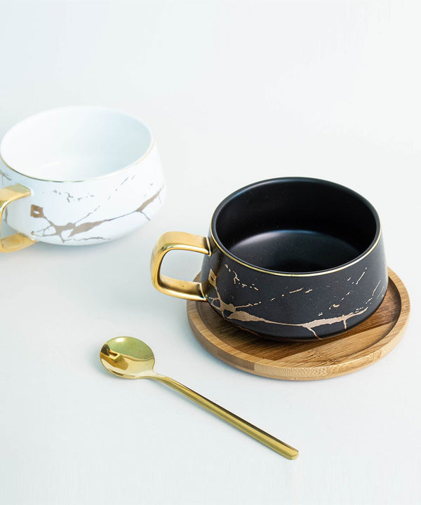 Prickly Pear Savannah 300ml Ceramic Mug with Wooden Saucer and Gold Teaspoon
