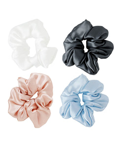 Pack of 4 Silk Scrunchies - Mixed