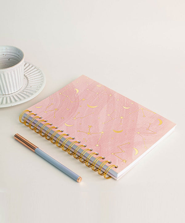 Prickly Pear Spiral Bound Constellation A5 PU Notebook Pink