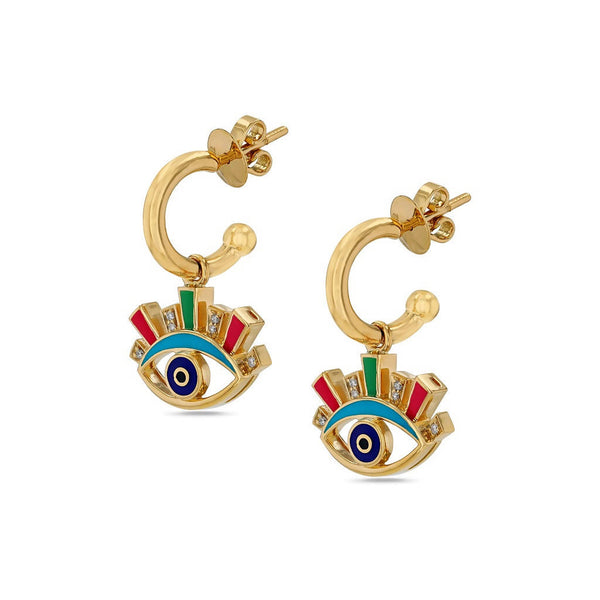 Crazy Eyes Enamel Hoop Earring