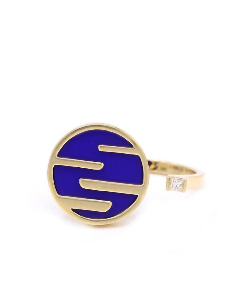 Sunset by the Ocean Ring 18k Yellow Gold and Lapis