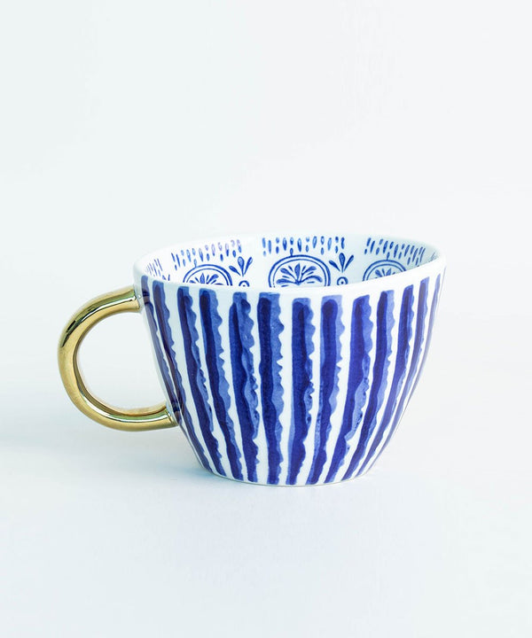 Prickly Pear Lina Ceramic Coffee Mug - Navy