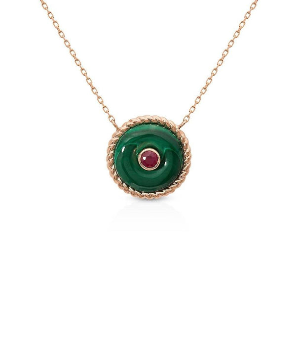 The Knot Necklace in Malachite Rose Gold
