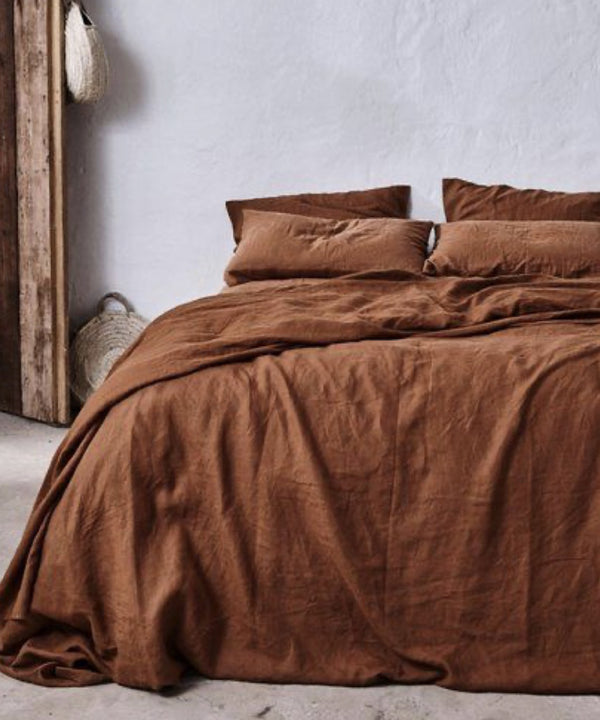 Flax Linen Bedding Set - Terracotta
