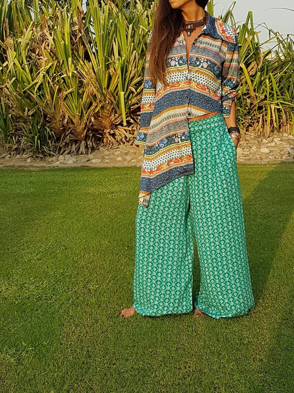 Mozaic Blouse and Printed Sea Green Wide Leg Pants