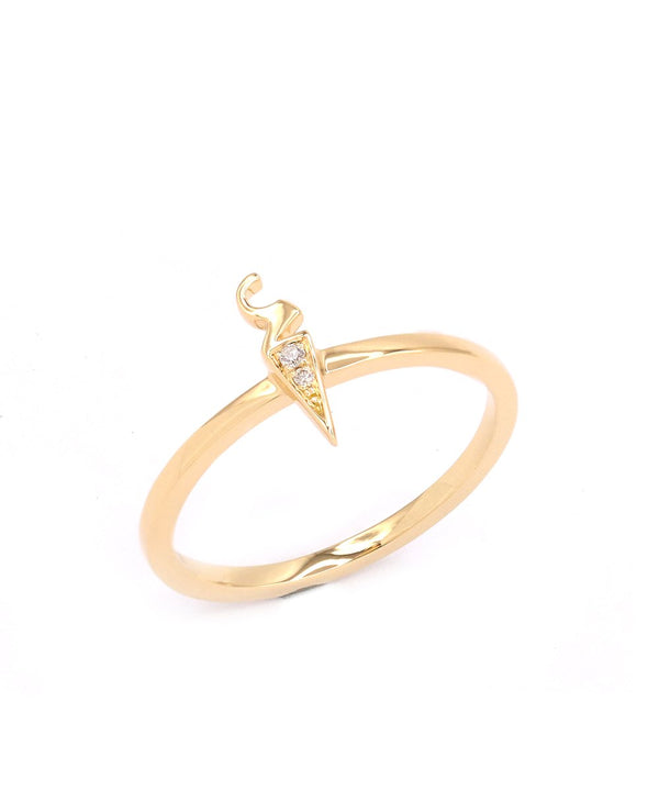 'Alef' (Arabic A) Diamond Ring in 18k yellow gold