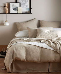 Flax Linen Bedding Set - Beige