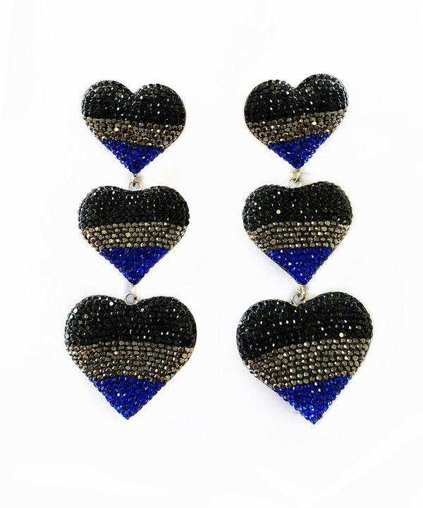 3 Hearts with Black, Blue and Silver Crystals Earrings