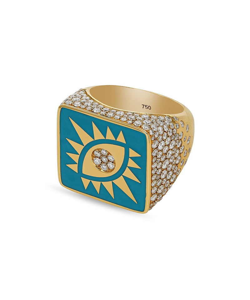 Blue Square Crazy Eyes Ring