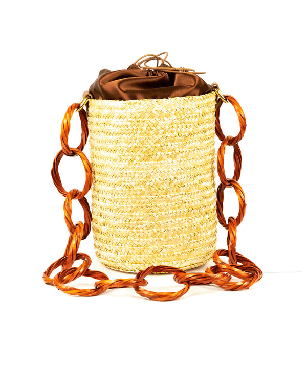 Brown Coffee Raffia Bucket