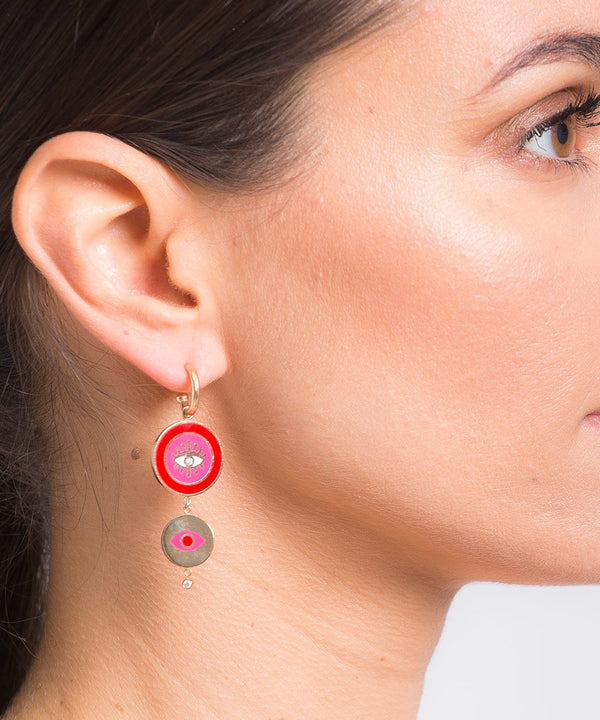 Red and Pink Crazy Eyes Earrings
