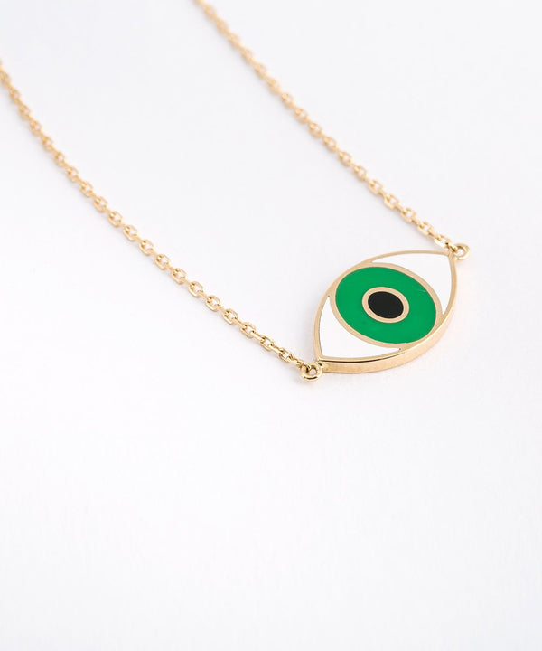 Crazy Eyes Necklace - White and Green