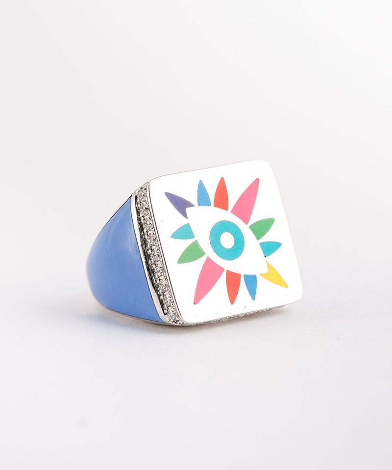 Multicolor Square Crazy Eyes Ring