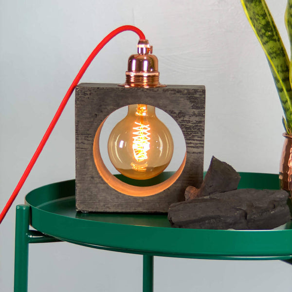 Charcoal Industrial Table Lamp Concrete - Edison light