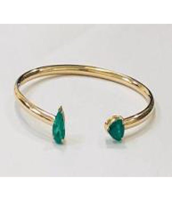 Art Deco Bangle - Double Emerald