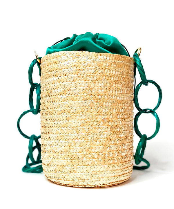 Emerald Green Raffia Bucket