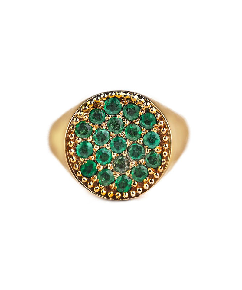 Emerald and Gold AristoCat Pinky Ring