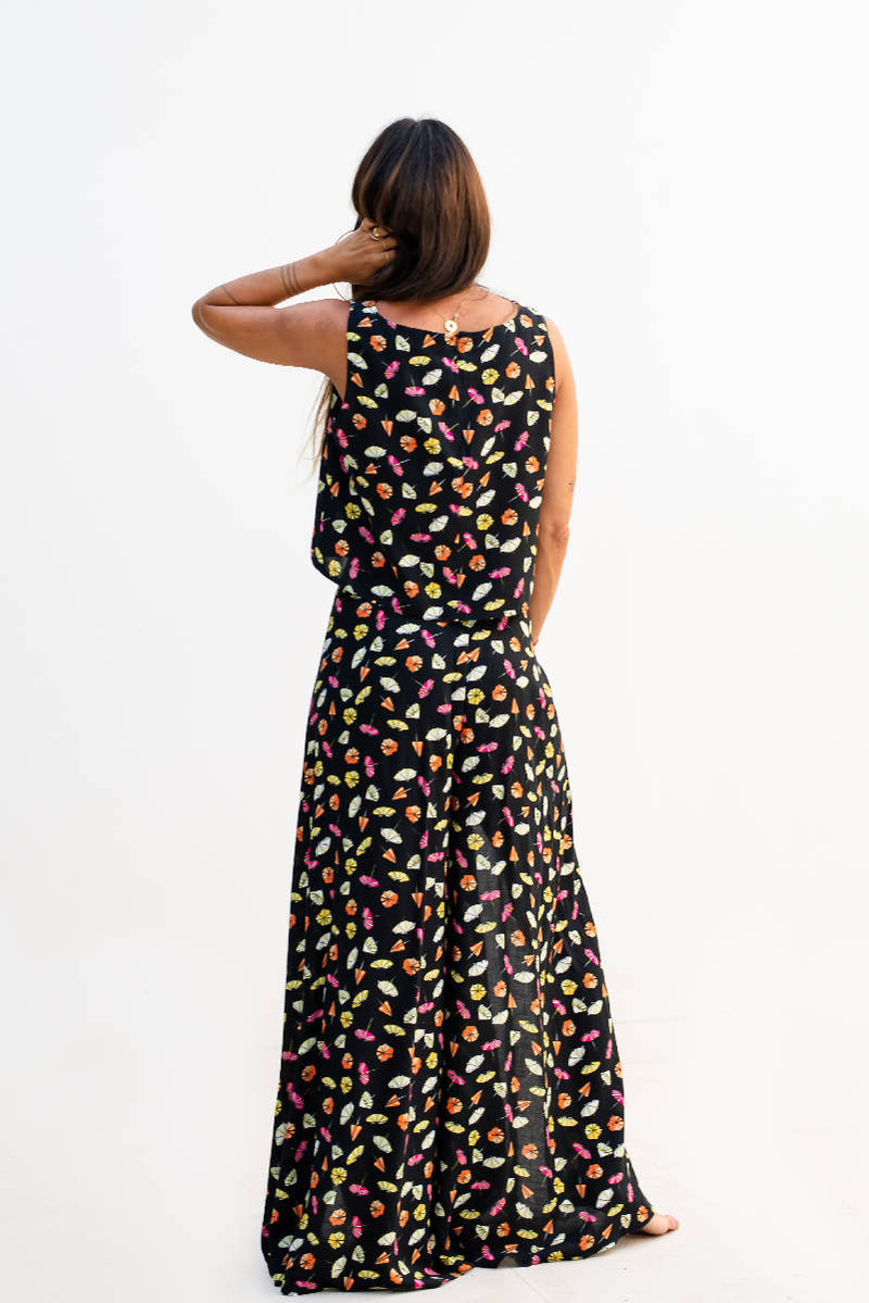 Umbrella Printed Crop Top & Wide Leg Pants with High Side Slits