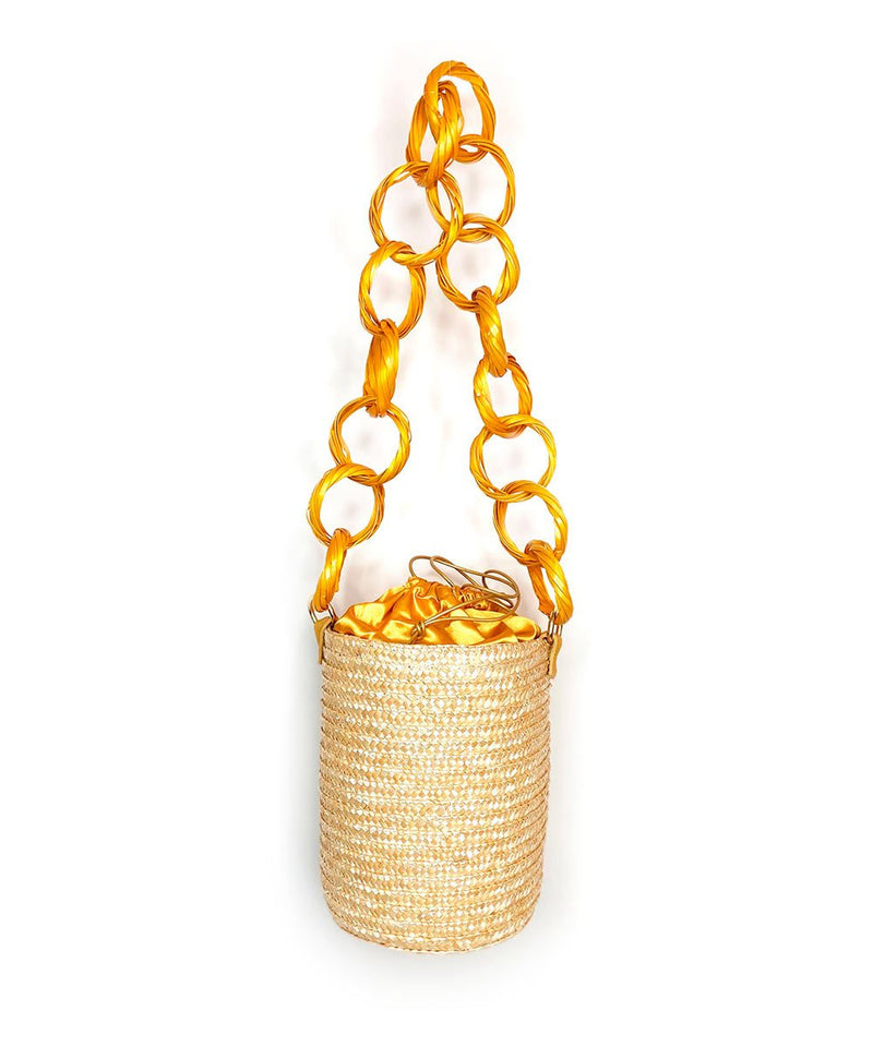 Golden Lemon Raffia Bucket
