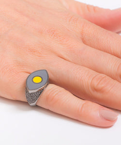 Grey and Yellow Crazy Eyes Ring