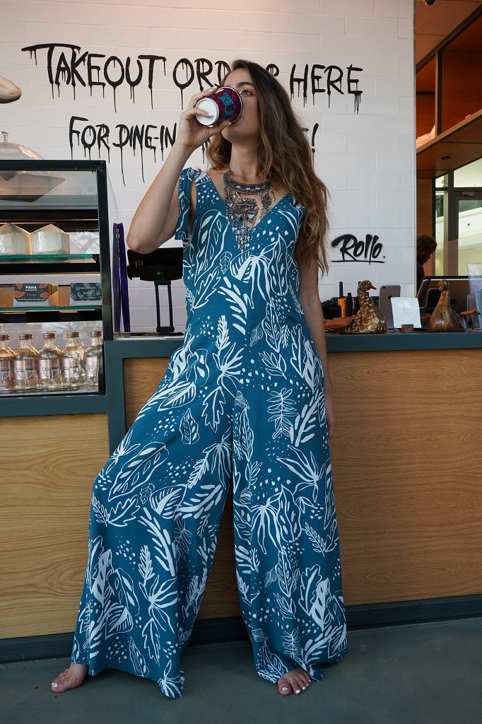Tie Strap Wide Leg Jumpsuit - Blue and White