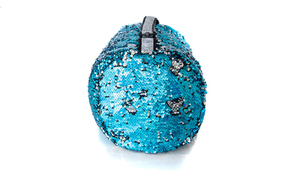 Sequin Small Duffle Hologram Turquoise