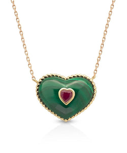 In My Heart Necklace in Malachite