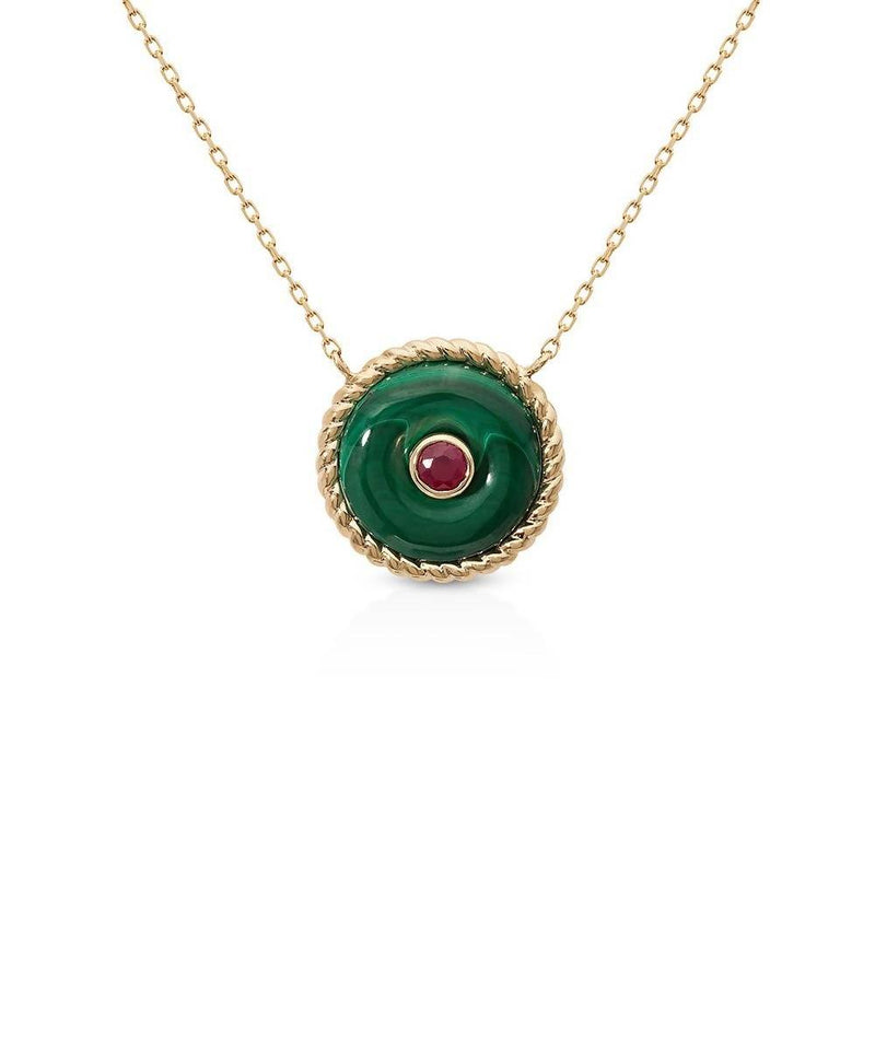 The Knot Necklace in Malachite Yellow Gold