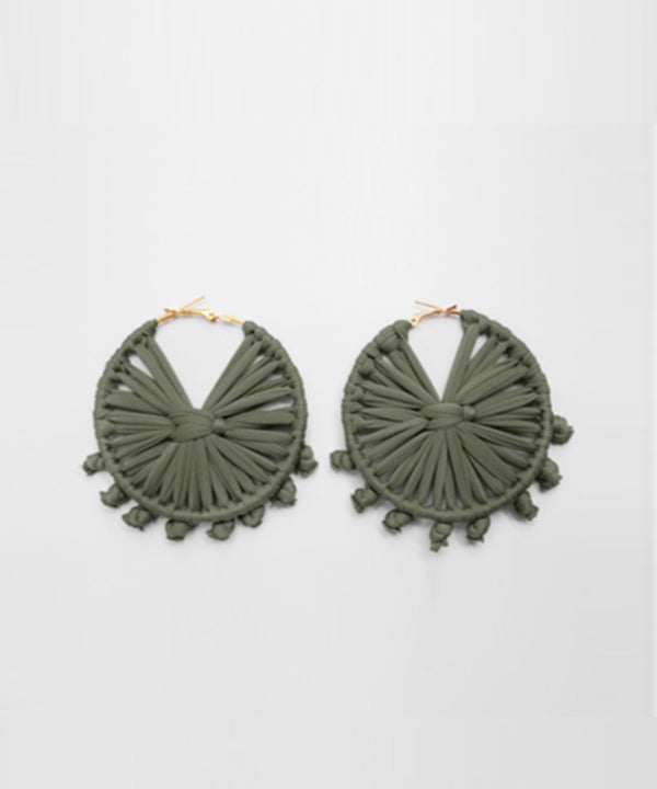 Macrame Round Earrings - Olive Green