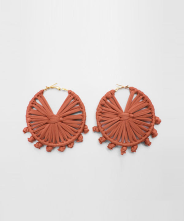 Macrame Round Earrings - Orange Brick