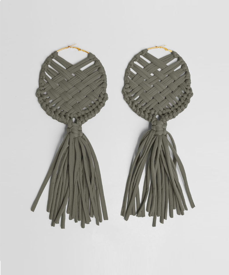 Macrame XL Earrings - Olive Green