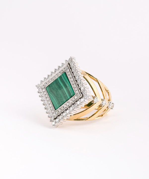 Malachite and Diamond Art Deco Ring