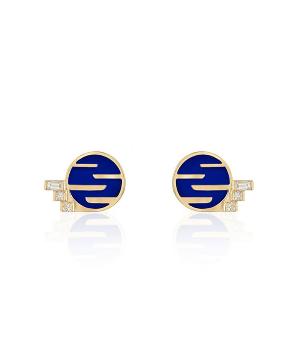 Sunset by The Ocean Lapis Lazuli and Diamond Studs