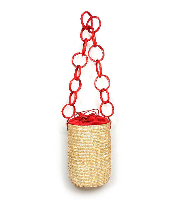 Red Cherry Raffia Bucket