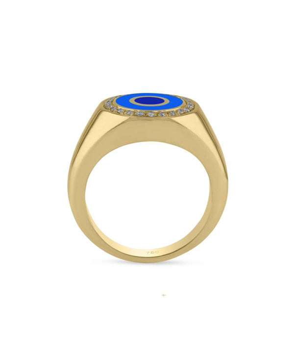 Blue Round Crazy Eyes Ring